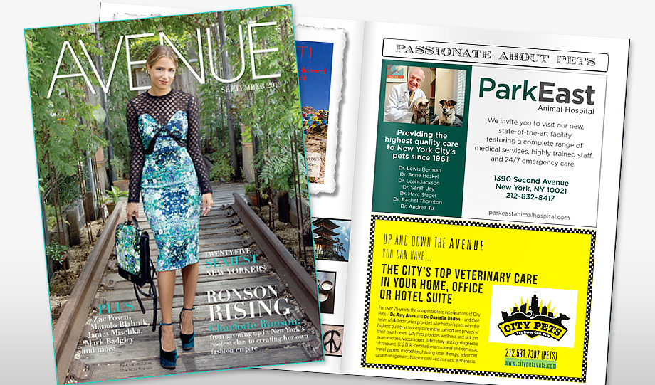 Park East Animal Hospital Ad for Avenue Magazine
