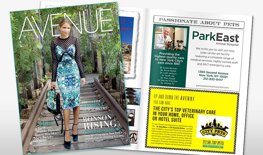Park East Animal Hospital Ad for Avenue Magazine